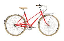 Creme Caferacer Solo Stadsfiets Dames 3-Speed rood